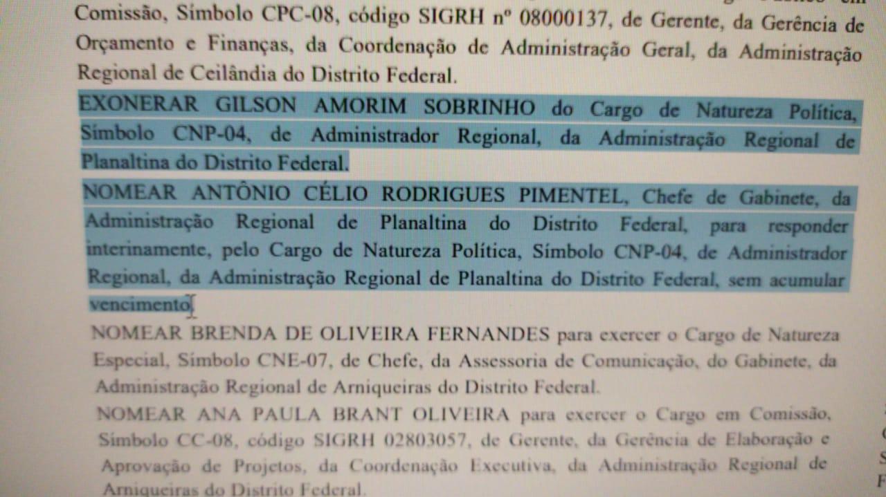 DODF de Hoje 13 de maio - Exoneração do Administrador de Planaltina
