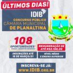 Planaltina Goiás: Última semana para inscrições no concurso da Câmara Municipal