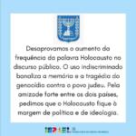 Em nota Embaixada de Israel condena, indiretamente, o uso do termo 'genocídio'
